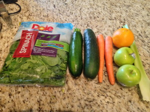 My wife's juice recipe: 1 bag spinach, 1 zucchini, 1 cucumber, 2 carrots, 1 orange, 2 apples